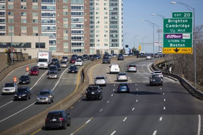 Morning traffic on the Mass Pike (Jesse Costa/WBUR)