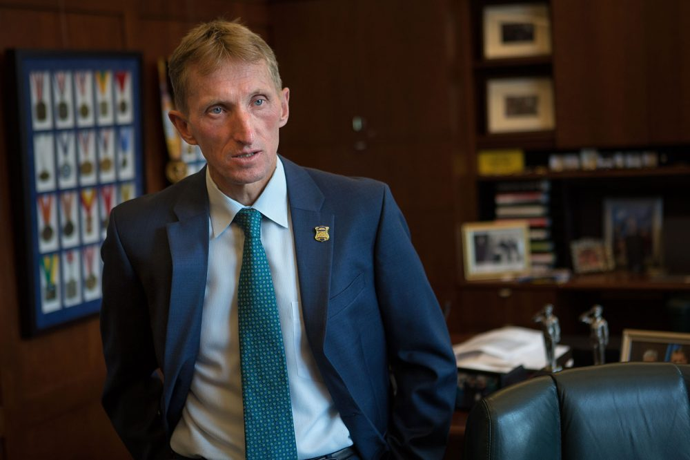Boston Police Department Commissioner William Evans, in 2015 (Jesse Costa/WBUR)