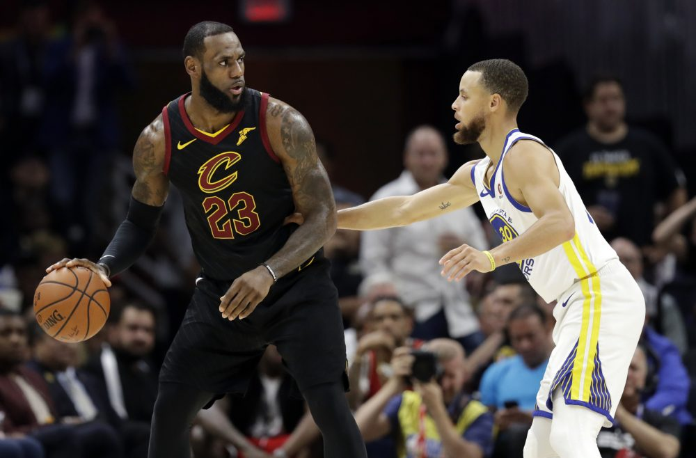 6d281ac3b56 Cleveland Cavaliers  LeBron James is defended by Golden State Warriors   Stephen Curry during the