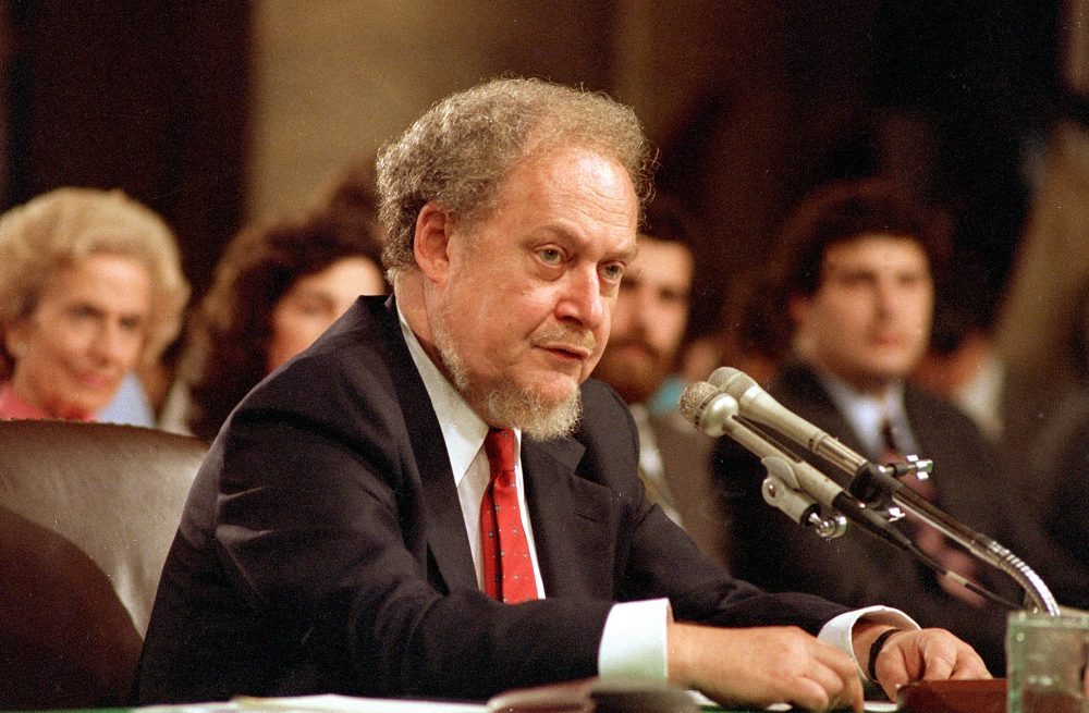 U.S. Supreme Court nominee Robert H. Bork testifies before the Senate Judiciary Committee on the first day of his confirmation hearings on Capitol Hill, Sept. 16, 1987. (Charles Tasnadi/AP)