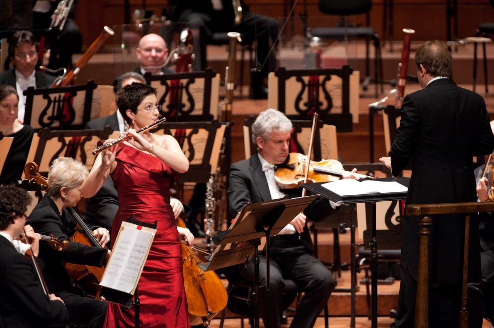 Elizabeth Rowe, Ludovic Morlot and the Boston Symphony Orchestra on tour in 2011 at Davies Hall, San Francisco. (Courtesy Boston Symphony Orchestra)