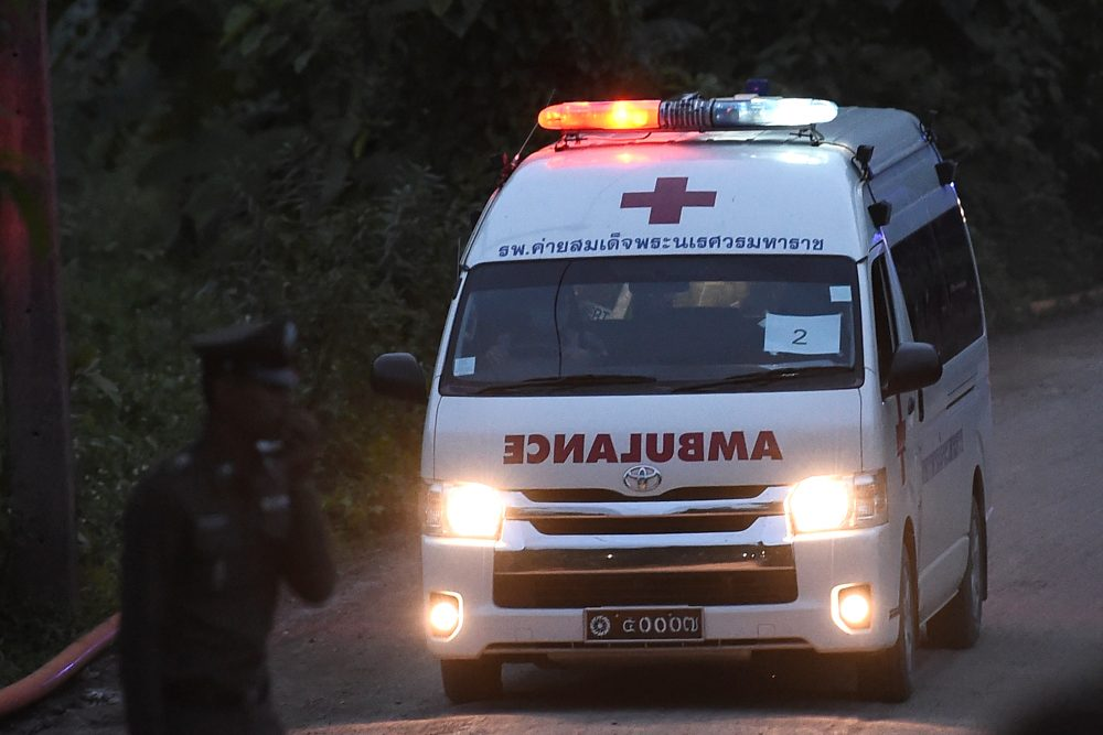 An ambulance exits from the Tham Luang cave area as rescue operations continue for those still trapped inside the cave in Khun Nam Nang Non Forest Park in Thailand on July 9, 2018. (Ye Aung Thu/AFP/Getty Images)