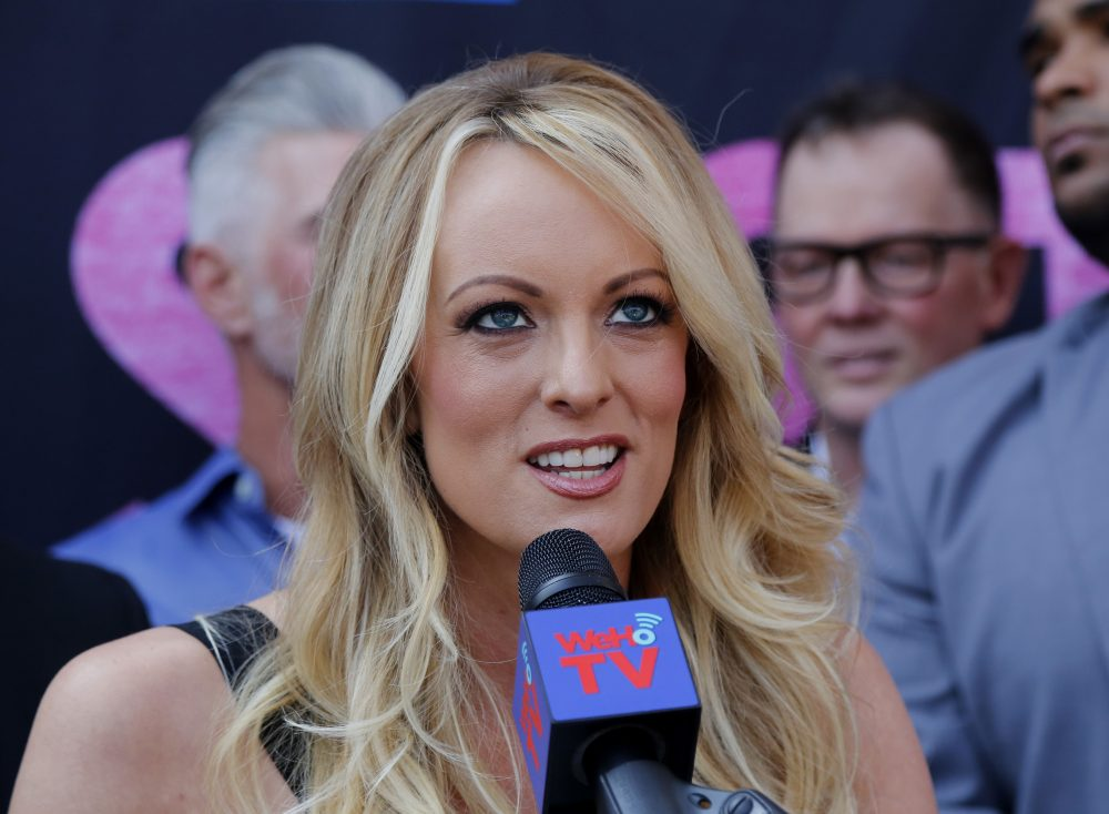 In this May 23, 2018 file photo, porn actress Stormy Daniels speaks during a ceremony for her receiving a City Proclamation and Key to the City in West Hollywood, Calif. Daniels was arrested at an Ohio strip club and is accused of letting patrons touch her in violation of a state law, her attorney said early Thursday, July 12. (Ringo H.W. Chiu/AP)