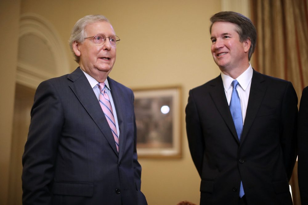 Senate Majority Leader Mitch McConnell (R-Ky.) (left) makes brief remarks before meeting with Judge Brett Kavanaugh, President Trump's nominee to replace retiring Supreme Court Justice Anthony Kennedy, in the U.S. Capitol, July 10, 2018 in Washington, D.C. (Chip Somodevilla/Getty Images)
