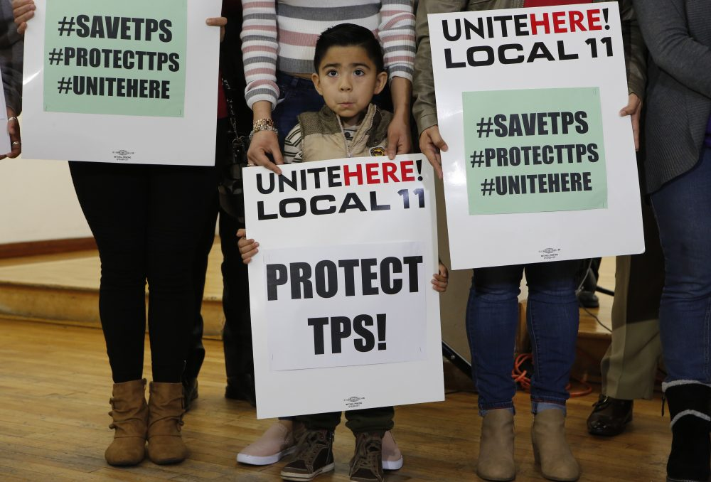 Mateo Barrera, 4, is originally from El Salvador, and benefits from Temporary Protected Status. He attended a January, 2018 news conference in Los Angeles. (AP Photo/Damian Dovarganes)