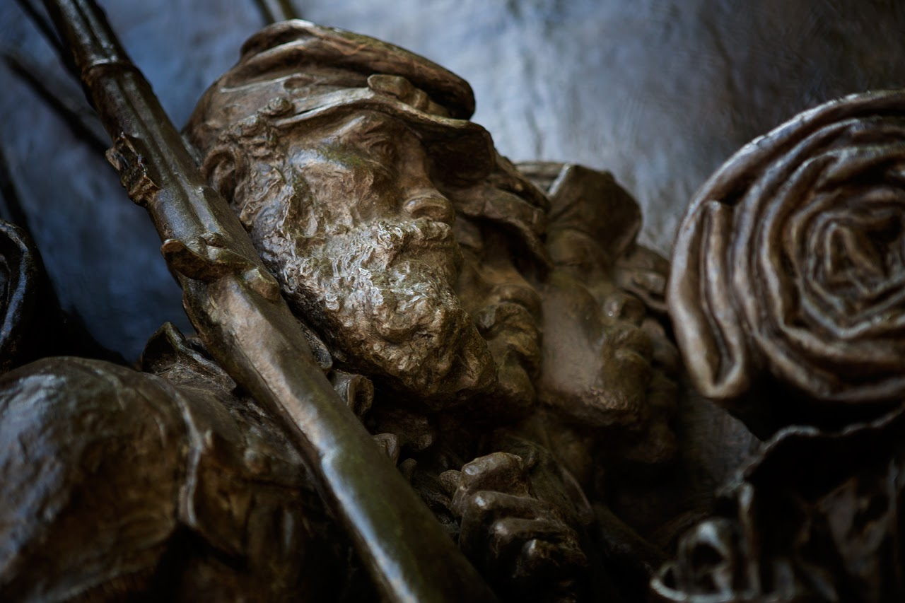 A solider from the 54th Regiment in the Augustus Saint-Gaudens relief on Boston Common. (Jesse Costa/WBUR)