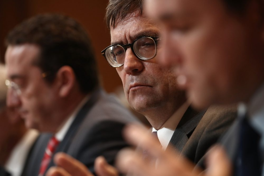 Piotr Wilczek (center), Poland's ambassador to the U.S., listens as Ukrainian Minister for Foreign Affairs Pavlo Klimkin testifies before the Senate State, Foreign Operations and Related Programs Subcommittee, March 7, 2017 in Washington, D.C. Senators held the hearing to develop a broader understanding of Russia's policies and intentions toward specific countries in Europe. (Win McNamee/Getty Images)