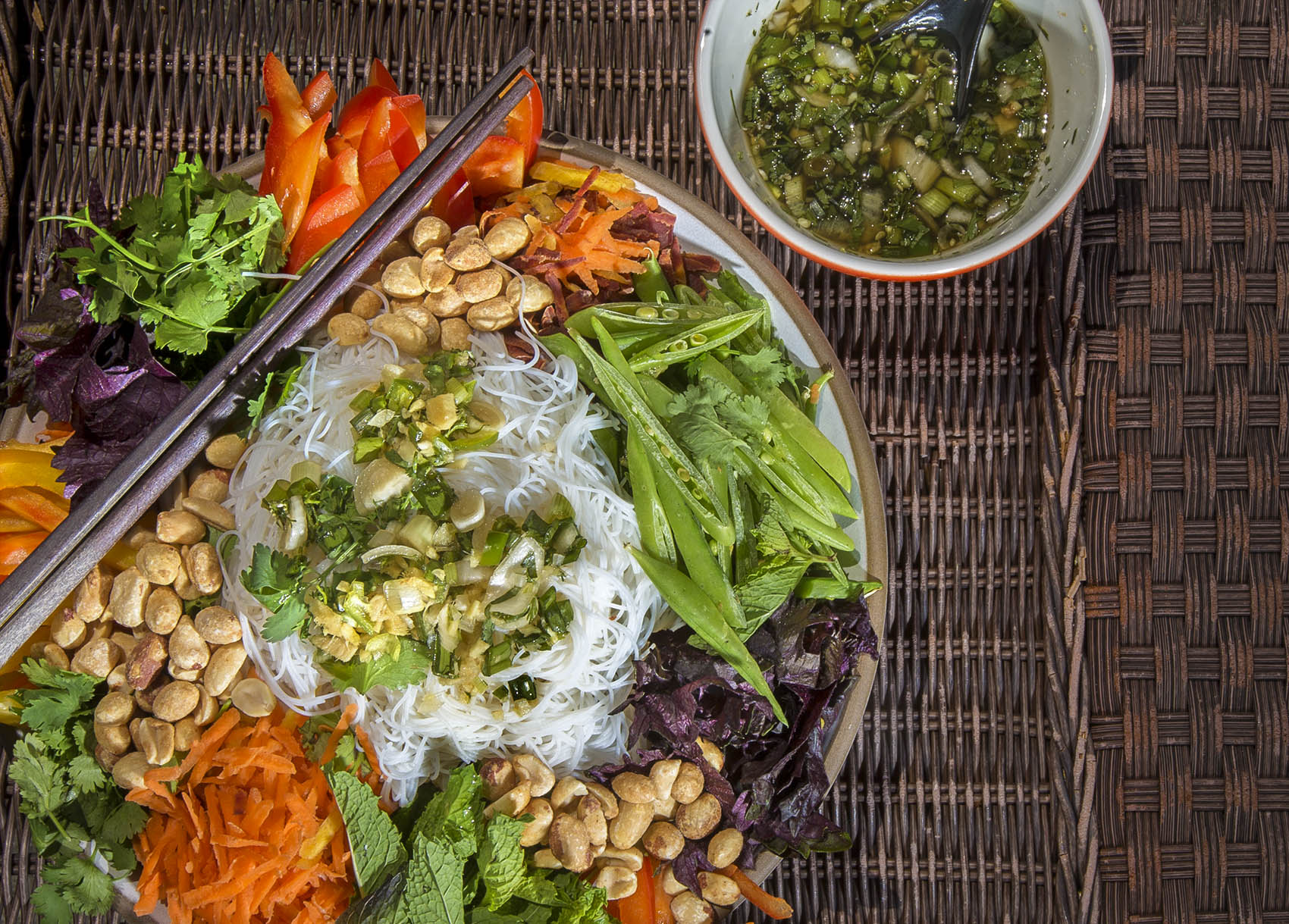 Chef Kathy Gunst's Vietnamese-style rice noodle salad with vegetables, herbs and peanuts. (Jesse Costa/WBUR)