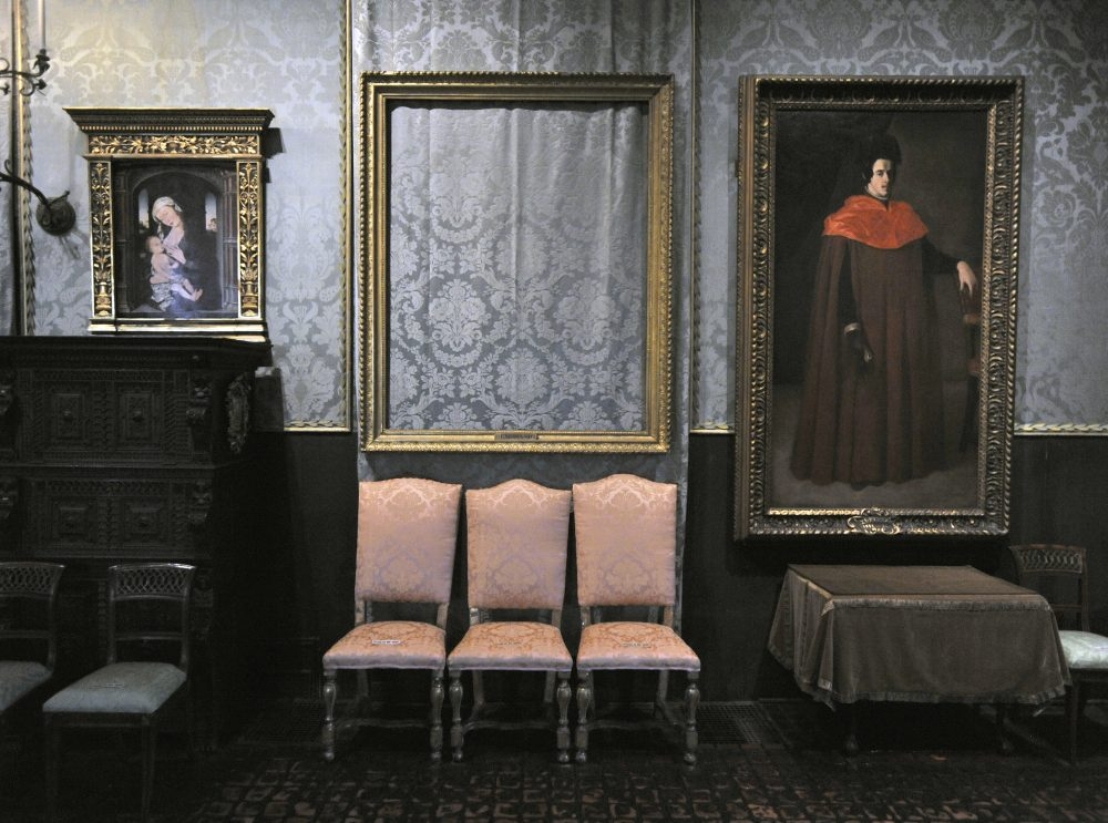 "The empty frame from which thieves cut Rembrandt's ""Storm on the Sea of Galilee"" remains on display at the Isabella Stewart Gardner Museum in Boston. (Josh Reynolds/AP)"