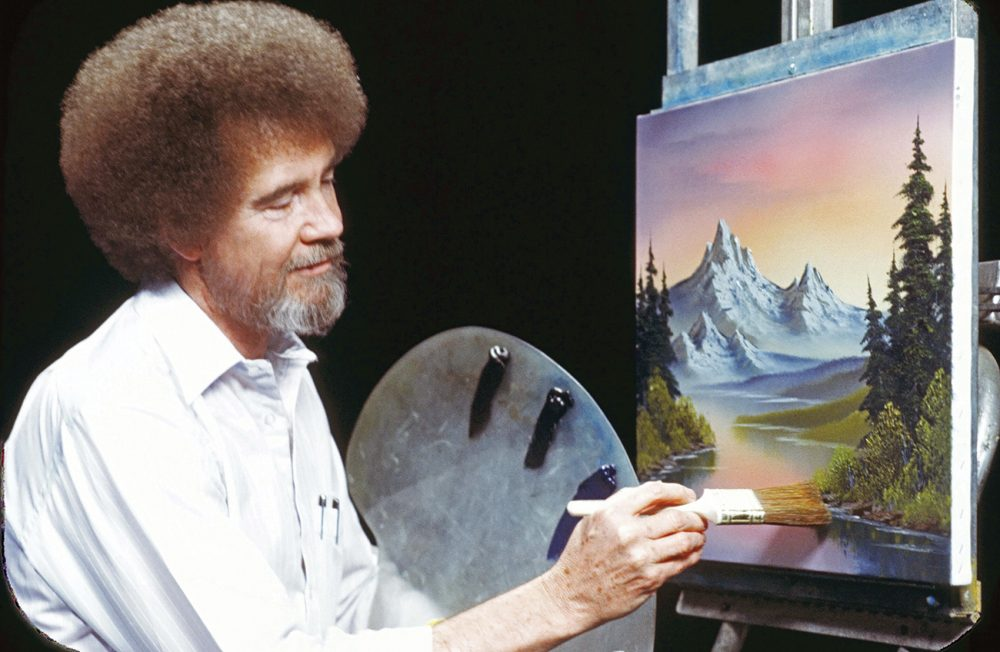 Bob Ross paint-along evenings have been so popular that some libraries are creating waiting lists. (Courtesy Bob Ross Inc.)
