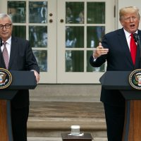 President Donald Trump and European Commission president Jean-Claude Juncker speak in the Rose Garden of the White House, Wednesday, July 25, 2018, in Washington. (Evan Vucci/AP)