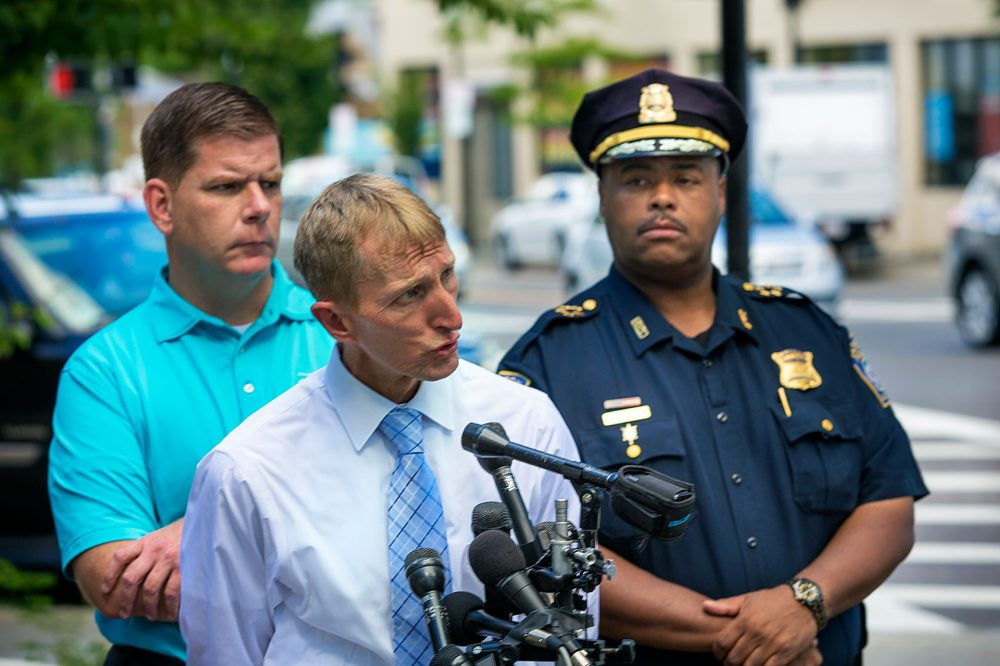 This 2015 file photo shows, from left, Boston Mayor Marty Walsh, Police Commissioner William Evans and Superintendent-in-Chief William Gross. Evans is retiring, and Walsh has picked Gross to take his place. (Jesse Costa/WBUR)