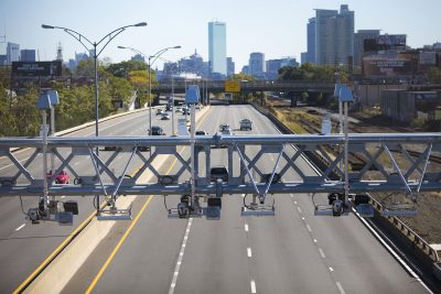 A toll gantry over the Mass. Pike (Jesse Costa/WBUR)