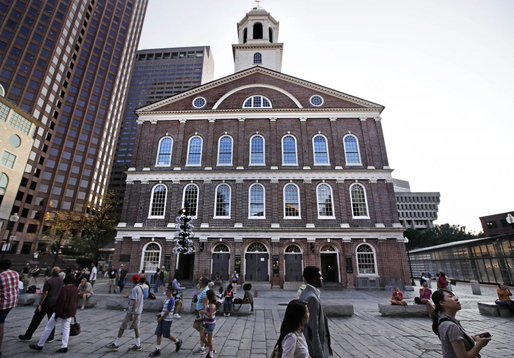 Faneuil Hall, of the most iconic buildings in Boston, where the earliest calls for independence from Britain were sounded in the late 1700s, is named for a man who owned and traded black slaves. Now a move to rename the historic structure is gaining momentum. (Charles Krupa/AP)