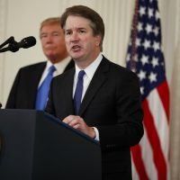 President Donald Trump listens as Judge Brett Kavanaugh his Supreme Court nominee speaks, in the East Room of the White House, Monday, July 9, 2018, in Washington. (Evan Vucci/AP)