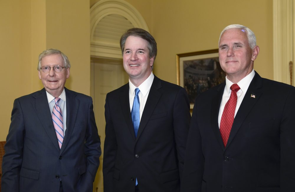 Senate Majority Leader Mitch McConnell of Ky., left, poses for a photo with Supreme Court nominee Brett Kavanaugh, center, and Vice President Mike Pence, right, as they visit Capitol Hill in Washington, Tuesday, July 10, 2018. (Susan Walsh/AP)