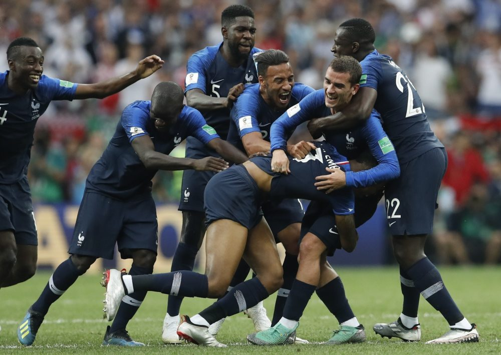 French players celebrate at the end of the final match between France and Croatia at the 2018 soccer World Cup in the Luzhniki Stadium in Moscow, Russia, Sunday, July 15, 2018. France won 4-2. (Petr David Josek/AP)