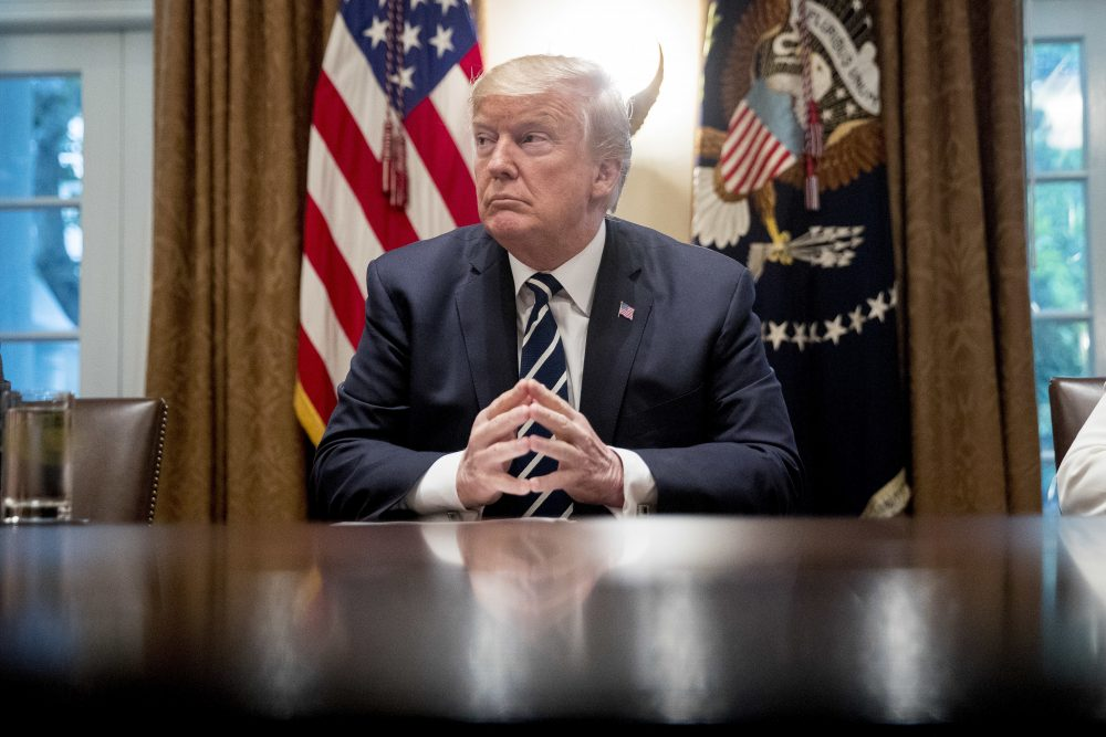 President Donald Trump waits for members of the media get set up before speaking in the Cabinet room of the White House, Tuesday, July 17, 2018, in Washington. (Andrew Harnik/AP)
