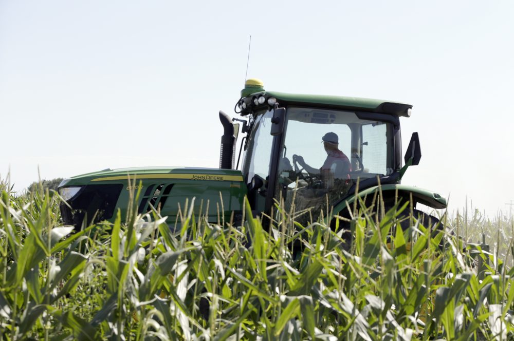 Farmer Tim Novotny of Wahoo, shreds male corn plants in a field of seed corn, in Wahoo, Neb., Tuesday, July 24, 2018. The Trump administration announced Tuesday it will provide $12 billion in emergency relief to ease the pain of American farmers slammed by President Donald Trump's escalating trade disputes with China and other countries. (Nati Harnik/AP)