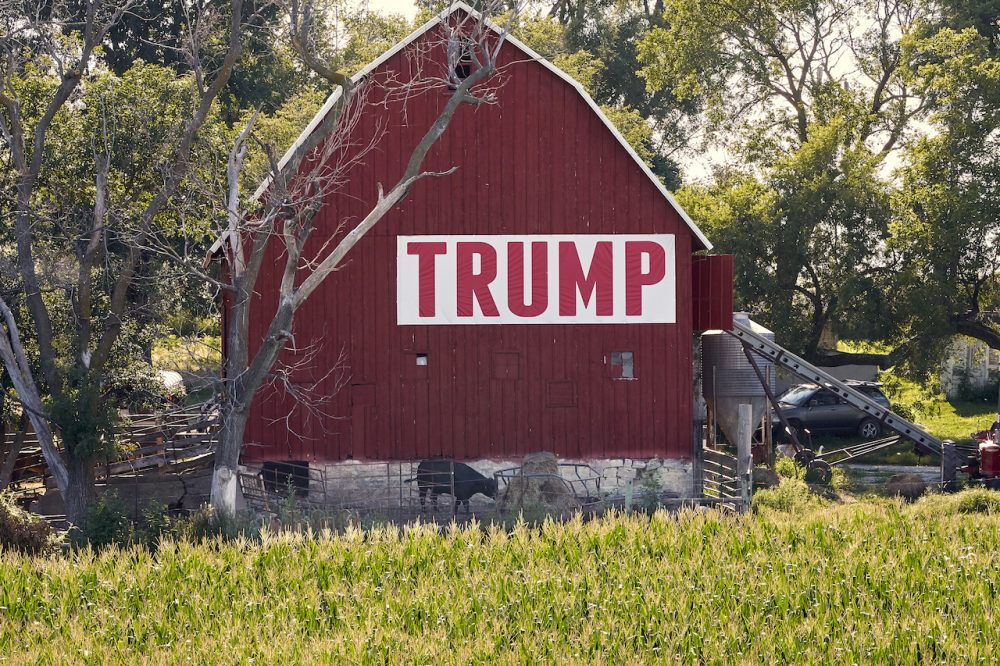 Corn grows in front of a barn carrying a large Trump sign in rural Ashland, Neb., Tuesday, July 24, 2018. The Trump administration announced Tuesday it will provide $12 billion in emergency relief to ease the pain of American farmers slammed by President Donald Trump's escalating trade disputes with China and other countries. (Nati Harnik/AP)