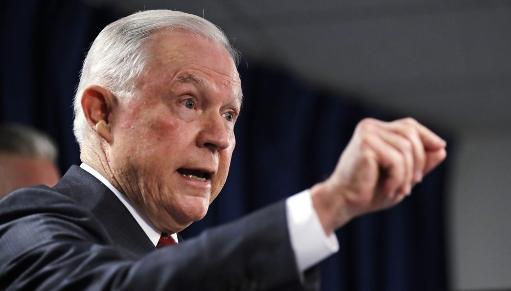 U.S. Attorney General Jeff Sessions gestures during a news conference at the Moakley Federal Building in Boston on Thursday. (Charles Krupa/AP)