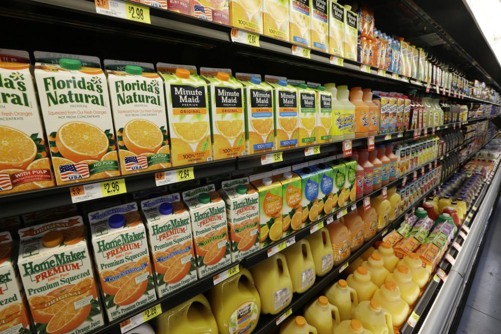 Orange Juice is displayed in a Bentonville, Ark., Wal-Mart Neighborhood Market Thursday, June 4, 2015. (Danny Johnston/AP)