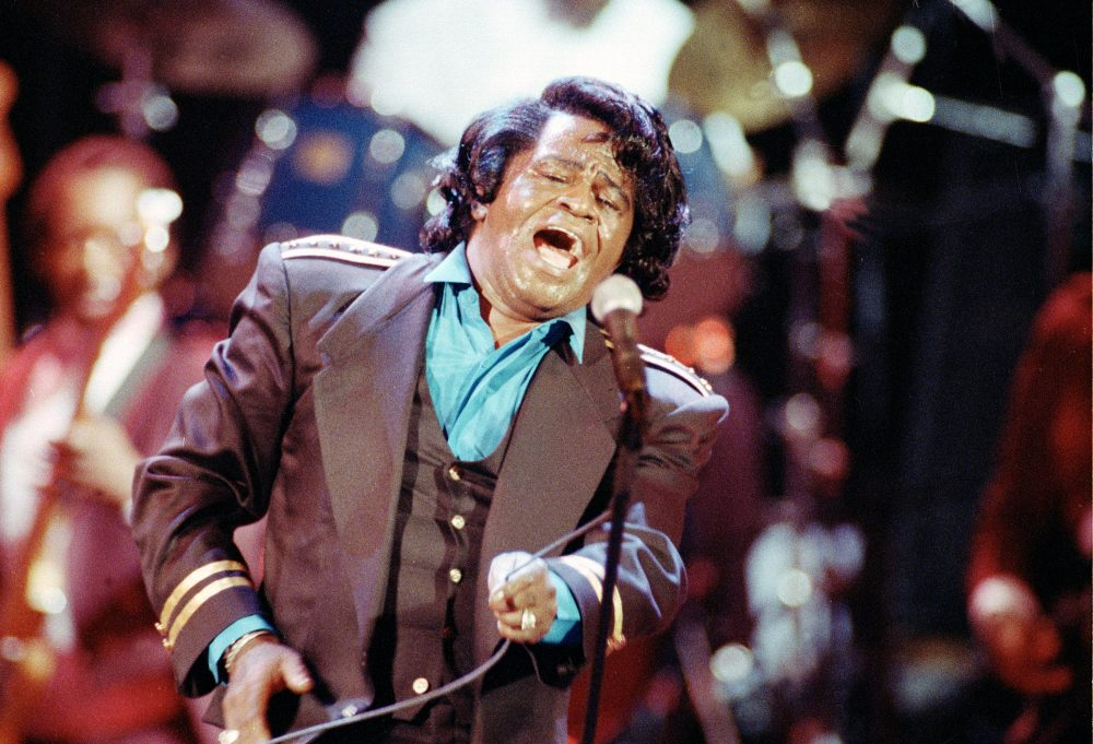 "James Brown sings ""Living in America"" during a concert at the Wiltern Theater in Los Angeles on June 10, 1991. (Kevork Djansezian/AP)"