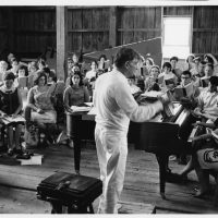 Leonard Bernstein conducts students in a Tanglewood rehearsal barn in the early 1970s. (Courtesy Heinz Weissenstein/Boston Symphony Orchestra)