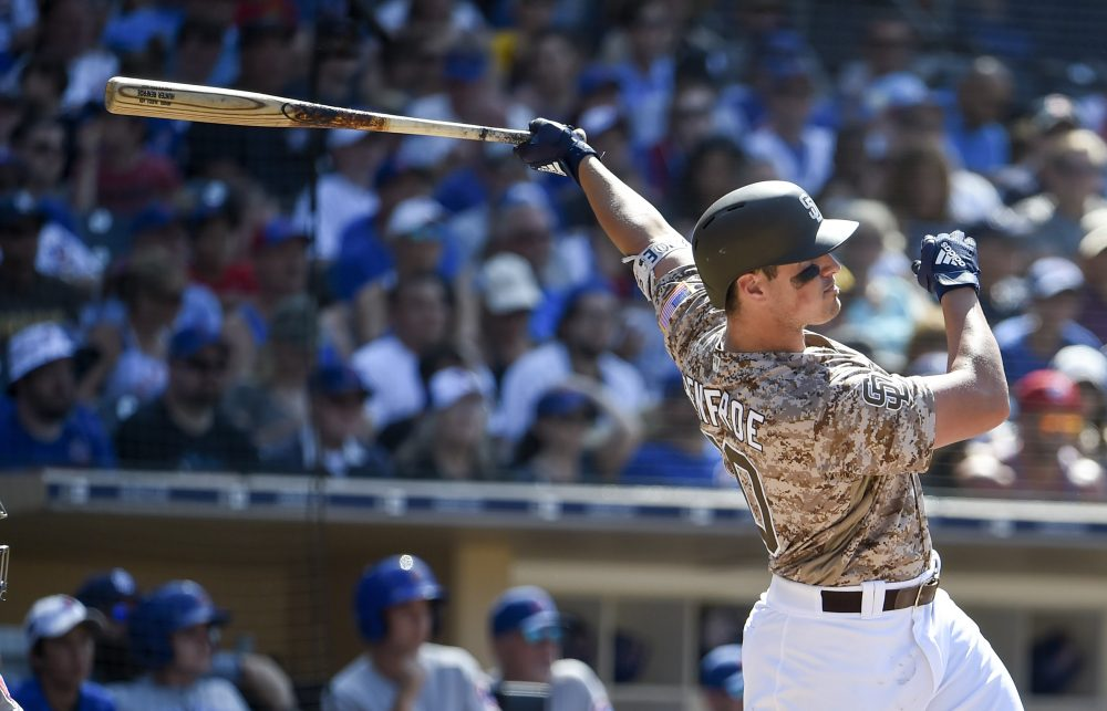 2e75ee99f The San Diego Padres wear camouflage jerseys for Sunday home games. (Denis  Poroy/