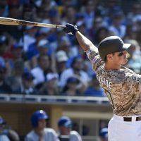 The San Diego Padres wear camouflage jerseys for Sunday home games. (Denis Poroy/Getty Images)