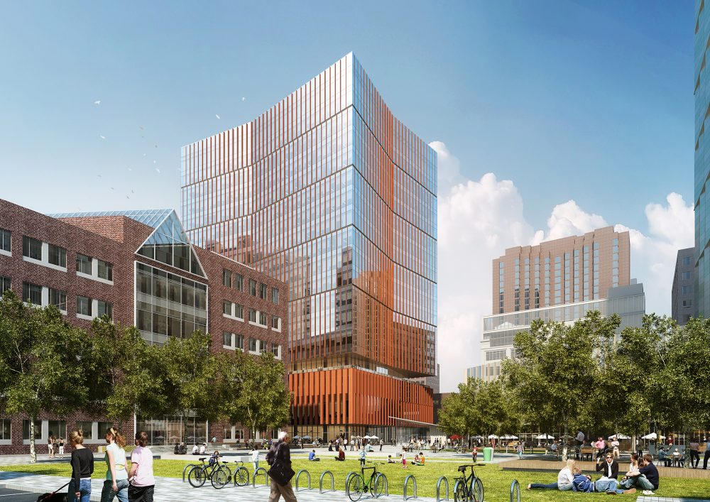 An artist's rendering of 314 Main Street in Cambridge. The building will be home to a new Boeing research center -- called the Aerospace and Autonomy Center -- which will focus on developing autonomous aircraft technology. The Boeing center will also anchor MIT's $2 billion Kendall Square development project. (Courtesy Perkins + Will/MIT)