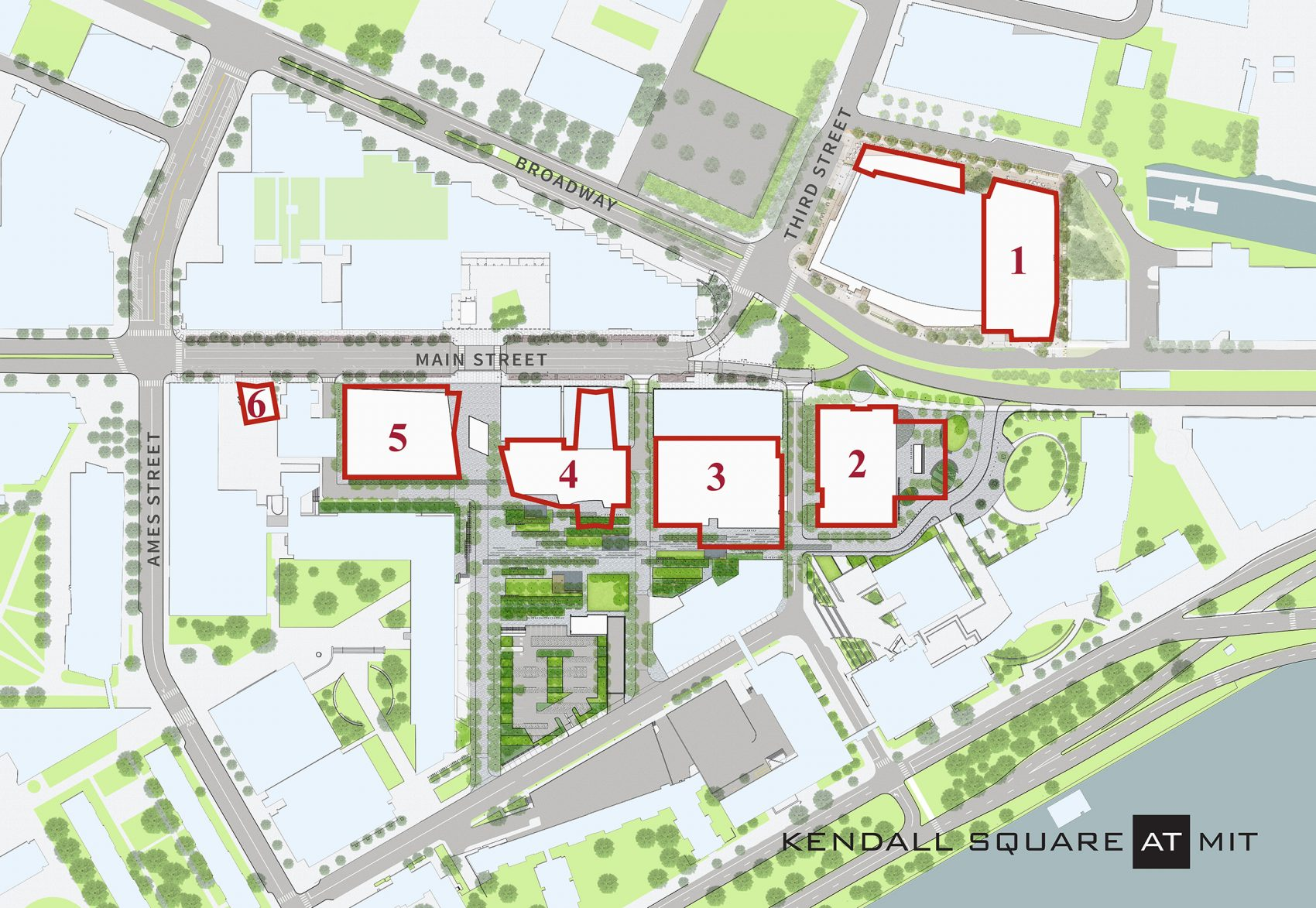 A map of MIT's Kendall Square Initiative, a major development project that will include six sites slated for housing, retail, office space, research and development, and outdoor space. The project will cost $2 billion, according to MIT officials. (Courtesy: MITIMCO)