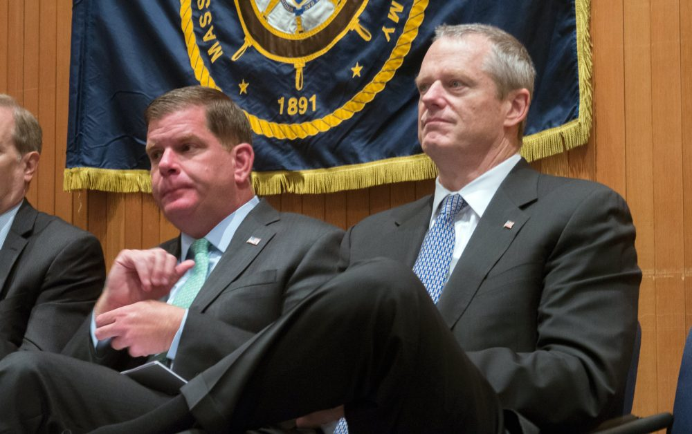 Boston Mayor Marty Walsh and Gov. Charlie Baker at an event at the John D. O'Bryant School in 2017 (Max Larkin/WBUR)