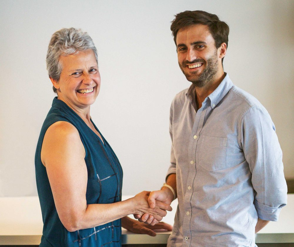 EzCater chief executive Stefania Mallett is among the new nominees for MassTLC executive awards. She is pictured with GoCater chief executive Stephen Leguillon, whose company ezCater acquired in July. (Courtesy ezCater)