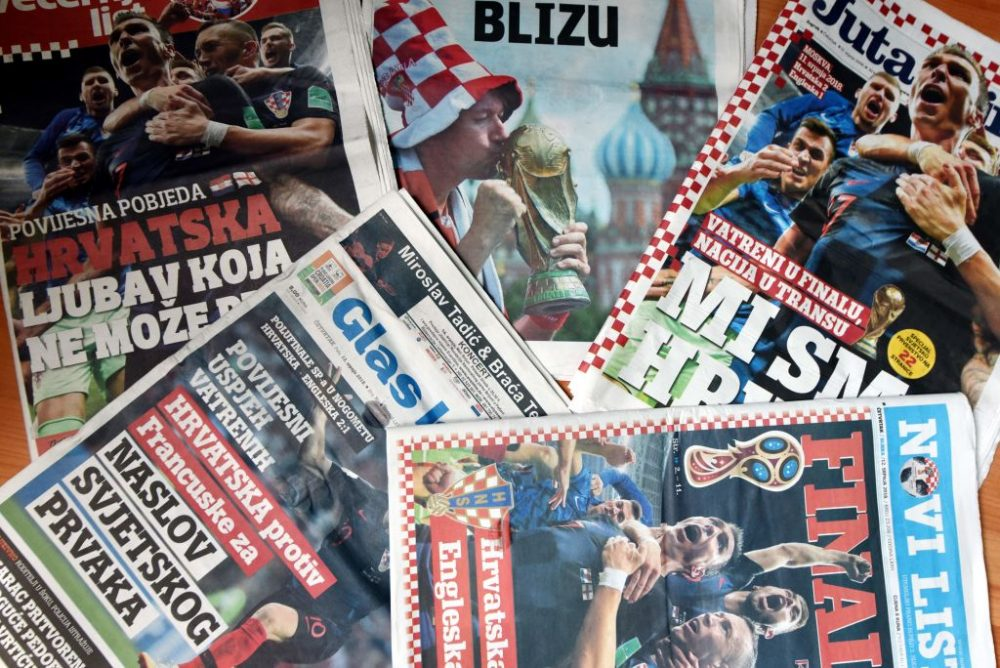 The front pages of Croatian newspapers a day after Croatia advanced to the 2018 World Cup Final. (STR/AFP/Getty Images)