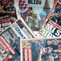 The front pages of Croatian daily newspapers a day after Croatia advanced to the 2018 World Cup Final. (STR/AFP/Getty Images)