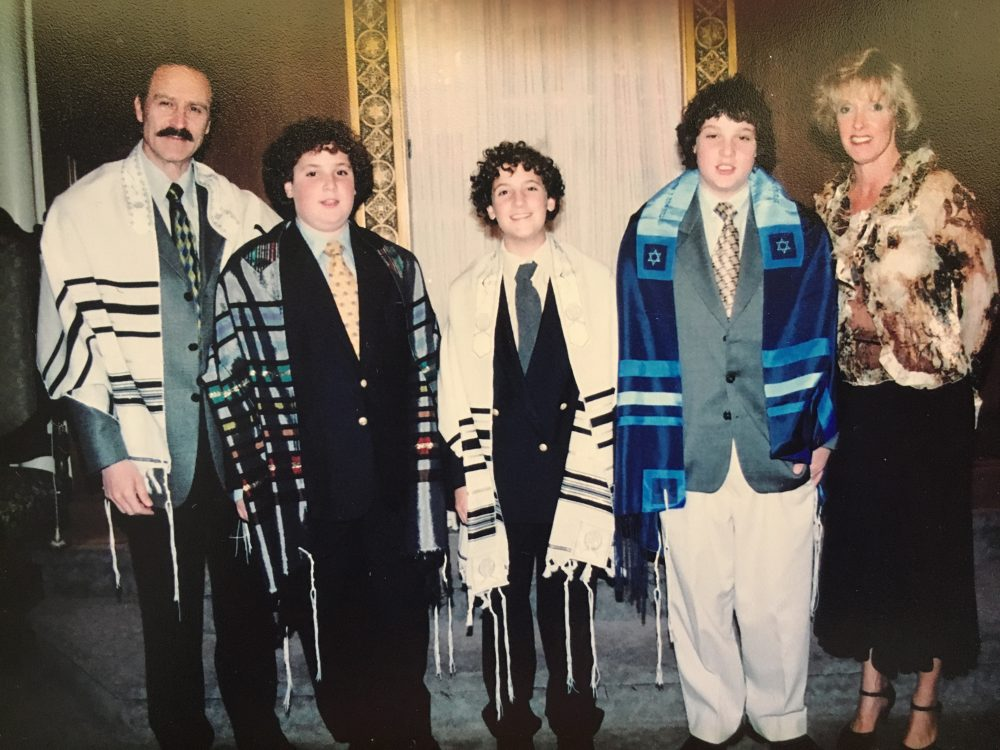 My family at our b'nai mitzvah ceremony (b'nai is plural for bar). From the left, my father Ivor, my brother Ian, myself, my brother Morgan and my mother Susan. (Courtesy Kaplan family)
