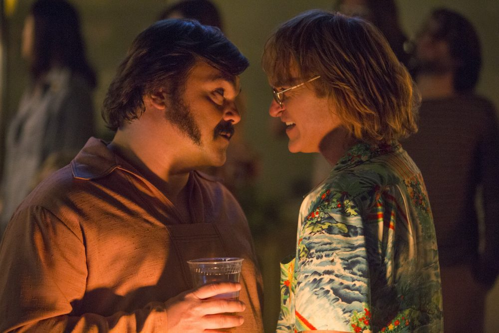 "Jack Black as Dexter and Joaquin Phoenix as John Callahan in ""Don't Worry, He Won't Get Far on Foot."" (Courtesy Scott Patrick Green/Amazon Studios)"