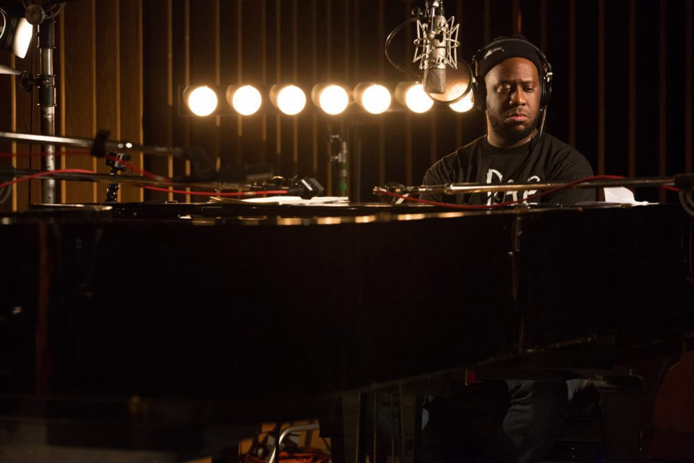 Producer and jazz pianist in an image from his live at Capitol Studios album recording session. (Courtesy Blue Note)