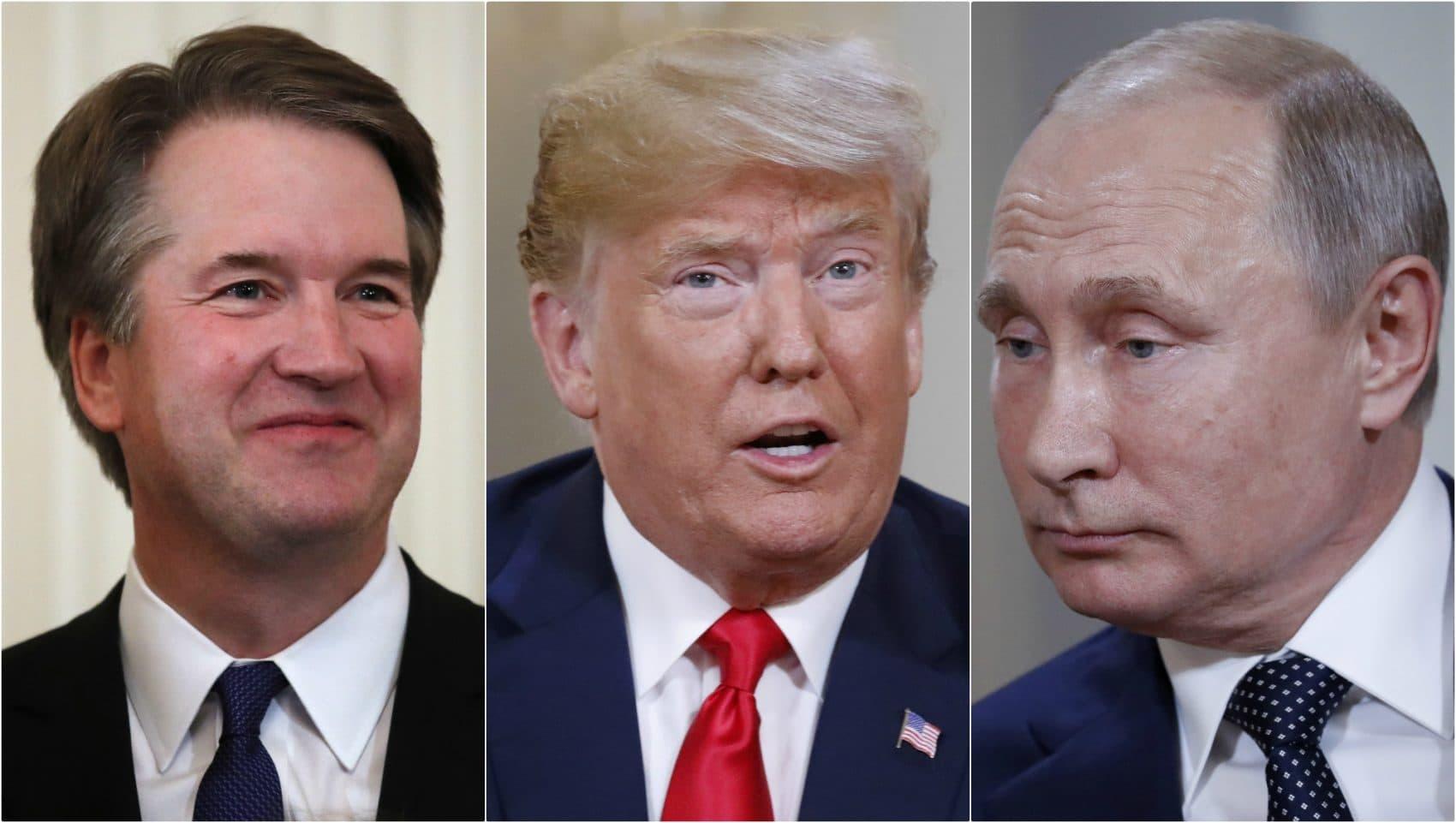 Brett Kavanaugh, Donald Trump and Vladimir Putin, all pictured in July 2018. (AP)