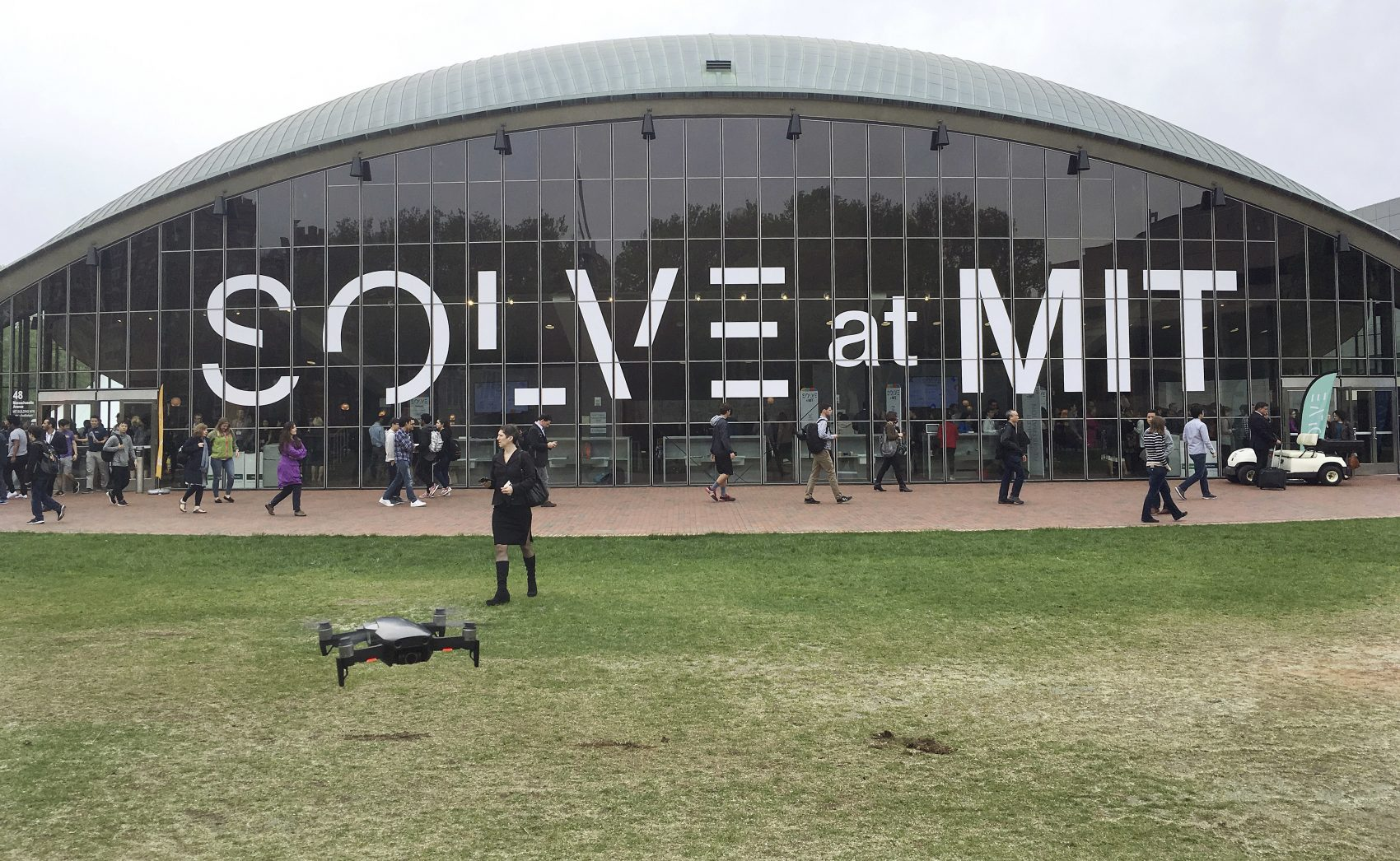 A drone flies outside the Massachusetts Institute of Technology's Kresge Auditorium during the annual Solve conference in May in Cambridge, Mass.(Matt O'Brien/AP)