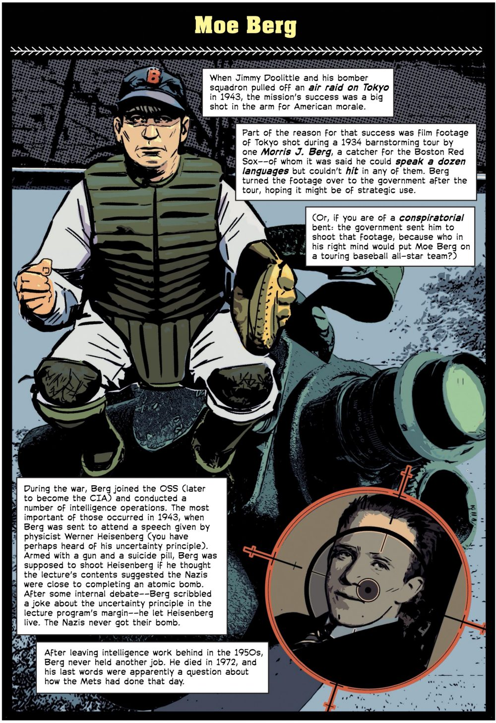 "Moe Berg, a panel from ""The Comic Book Story of Baseball"" (Alex Irvine)"