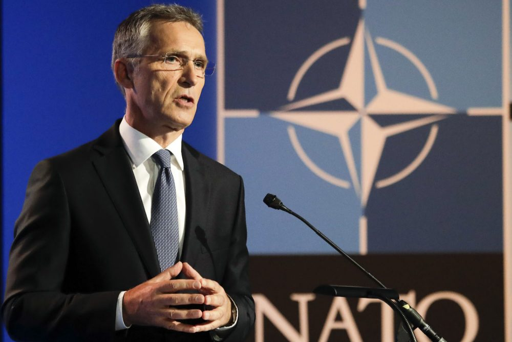 NATO Secretary General Jens Stoltenberg speaks during a media conference at NATO headquarters on the eve of a summit of the NATO heads of state and governments in Brussels on Tuesday, July 10, 2018. NATO leaders to discuss Russia, Iraq and their mission in Afghanistan.(AP Photo/Markus Schreiber)
