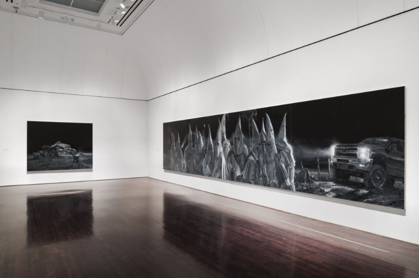 Installation view of Vincent Valdez: The City at the Blanton Museum of Art, The University of Texas at Austin, 2018. Purchase through the generosity of Guillermo C. Nicholas and James C. Foster in honor of Jeanne and Michael Klein, with additional support from Jeanne and Michael Klein and Ellen Susman in honor of Jeanne and Michael Klein, 2017. © Vincent Valdez (Photo courtesy of the Blanton Museum of Art)