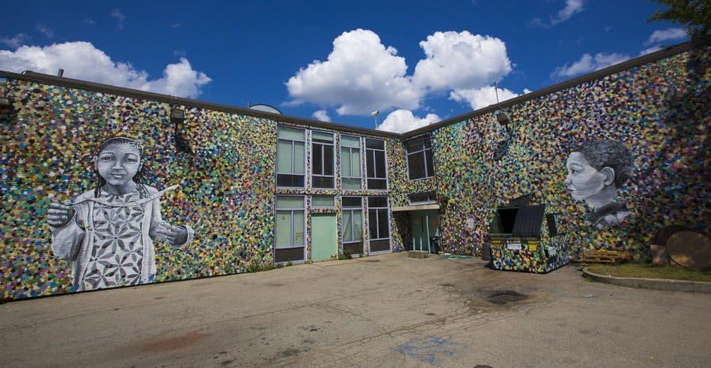 Mural at the Tobin School in Roxbury. (Jesse Costa/WBUR)
