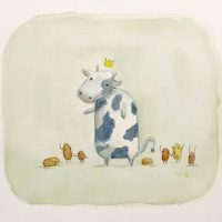 """Steak and Potatoes"", watercolor on paper, 5""x5"" by u/suckatlife"