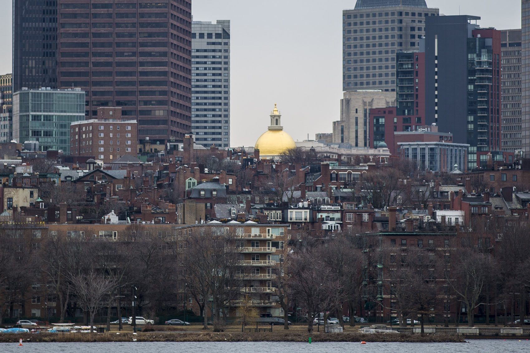 The gold dome of the Massachusetts State House on Beacon Hill (Jesse Costa/WBUR)