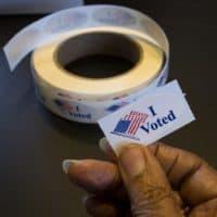 "An ""I voted"" sticker (Robin Lubbock/WBUR)"