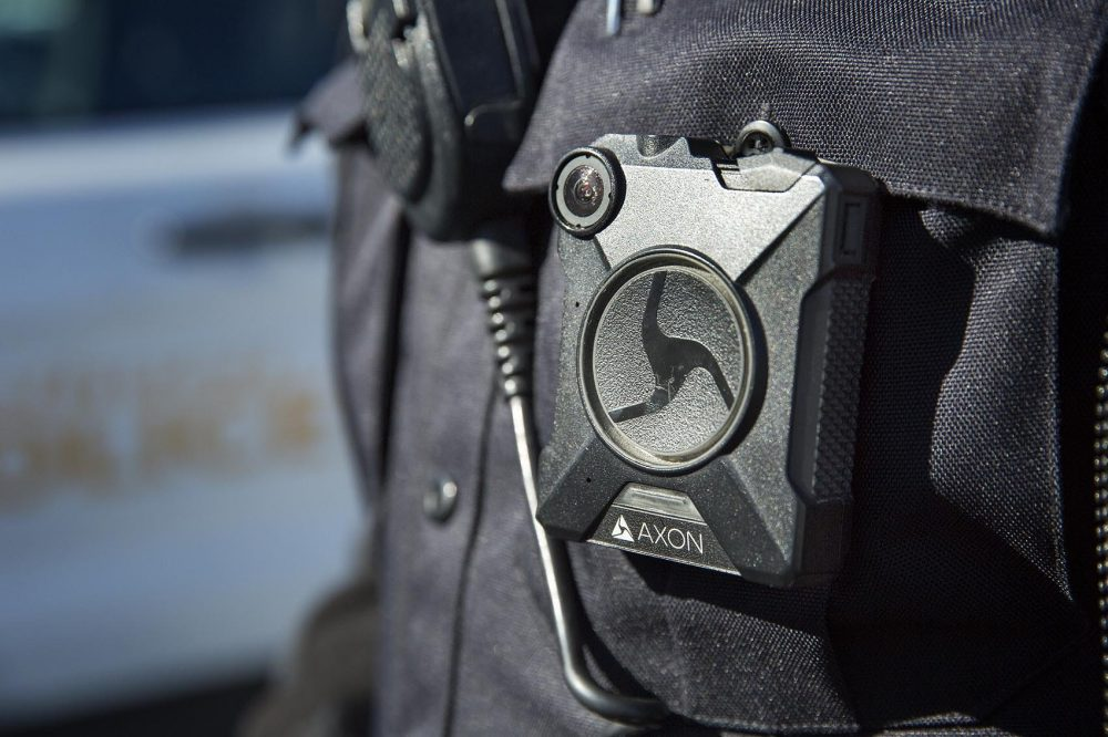 A police body camera worn by a police officer in Methuen. (Robin Lubbock/WBUR)