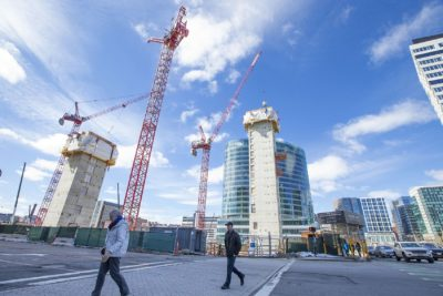 Housing construction in Boston's Seaport (Jesse Costa/WBUR)